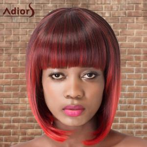 Adiors Short Colormix Neat Bang Straight Bob Cosplay Synthetic Wig