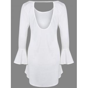 Bell Sleeve Knitted Tunic Dress - WHITE XL