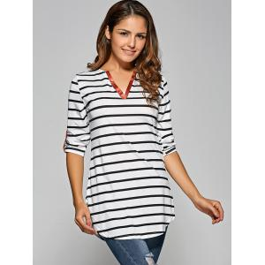 Stripe Irregular Loose Top -