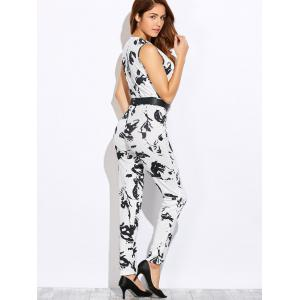 V Neck Painted Straight Skinny Jumpsuit - WHITE L