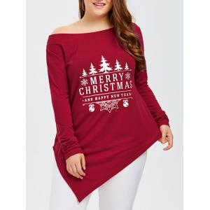 Plus Size Merry Christmas Print Asymmetric Tee