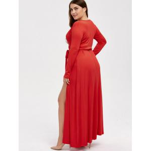 Plus Size Long Sleeve Wrap Maxi Prom Dress - RED 3XL