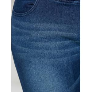 Fleece Panel Dark Wash Jeans - DENIM BLUE 4XL