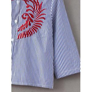 Embroidery Button Up Striped Shirt -