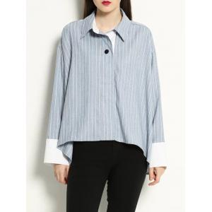 High Low Pullover BF Striped Shirt