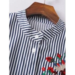 Embroidered Button Up Striped Shirt - DEEP BLUE L