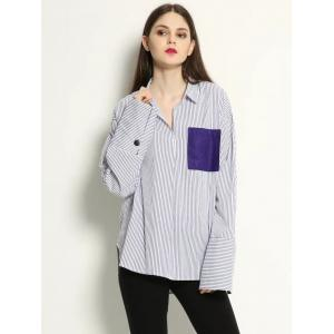 Patchwork Pullover Striped High Low Shirt -