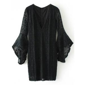 Mini Plunging Neckline Lace Dress
