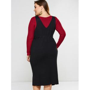 Knitted Slit Drawstring Dress - BLACK 4XL