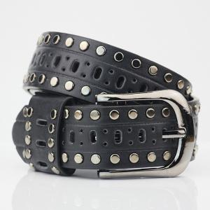 Pin Buckle Hollow Out Hole PU Studded Waist Belt - BLACK