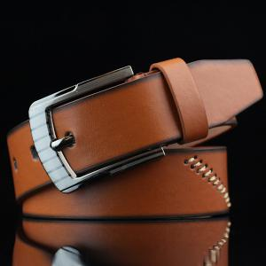 Pin Buckle Sewing Thread Wide Casual Belt - Brown