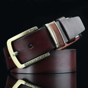 Letters Cameo Pin Buckle PU Wide Belt - Coffee