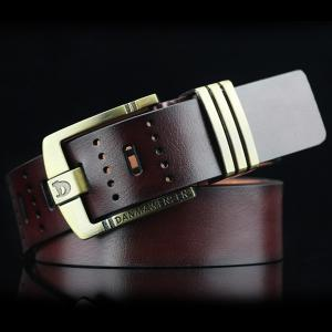 Hollow Out Letters Cameo Pin Buckle PU Wide Belt - Coffee