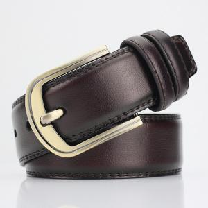 Brief Pin Buckle PU Wide Belt - Coffee - S