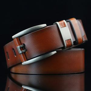 Brief Hollow Out Roller Buckle PU Wide Belt