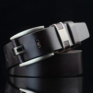 Brief Hollow Out Roller Buckle PU Wide Belt - Dark Coffee - S