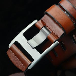 Brief Hollow Out Wide Hole PU Belt - BROWN