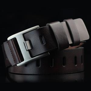Brief Hollow Out Wide Hole PU Belt - Espresso - S