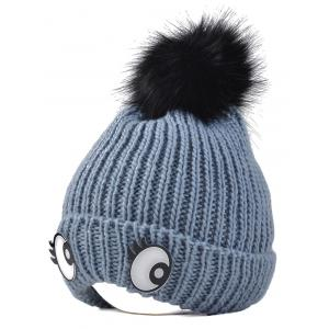 Winter Knitting Patterns Eyes Pom Hat - Gray