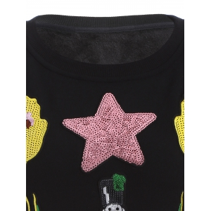 Plus Size Flower and Sodier Sequins Embroidery Thicken Knitwear - BLACK 5XL
