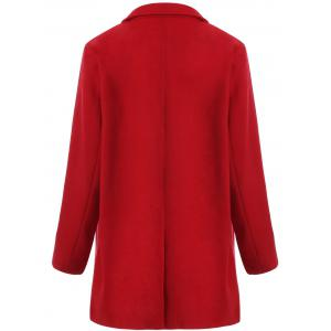 Plus Size Double Breasted Woolen Coat - RED 5XL