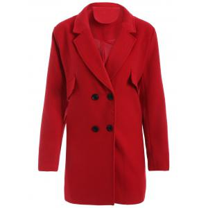 Plus Size Double Breasted Woolen Coat - Red - 4xl