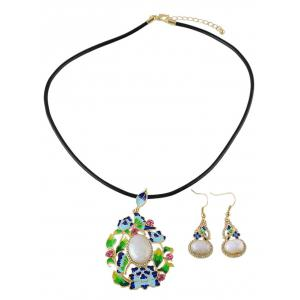 Enamel Ombre Faux Pearl Jewelry Set