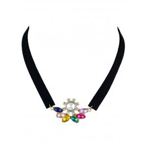 Faux Crystal Velvet Choker Necklace - Colorful - One Size