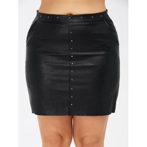 Pockets Round Rivet Plus Size PU Leather Skirt -