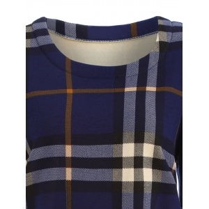 Tartan Pattern Thicken Plus Size Long Sleeve T Shirt - BLUE 4XL