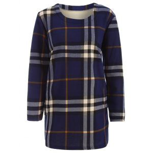 Tartan Pattern Thicken Plus Size Long Sleeve T Shirt - Blue - 2xl