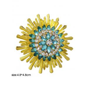 Enamel Faux Crystal Flower Brooch - YELLOW/GREEN