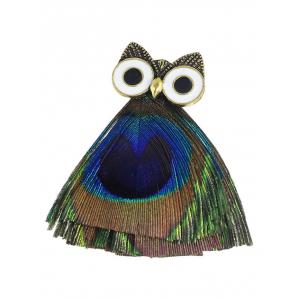 Owl Animal Feather Enamel Brooch