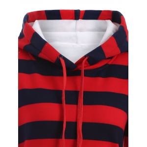 Drawstring Striped Thicken Plus Size Hoodie Dress - RED 5XL
