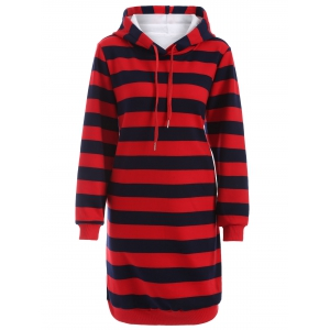 Drawstring Striped Thicken Plus Size Hoodie Dress