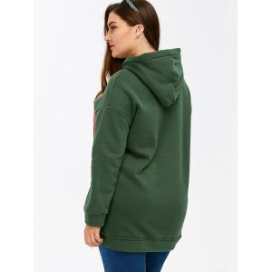 Color Block Rectangle Pattern Plus Size Drawstring Hoodie -
