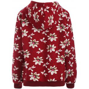 Casual Floral Print Plus Size Drawstring Hoodie -