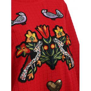 Flower and Bird Embroidery Heart Sequins Gingham Sweatshirt -