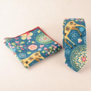 Linen Christmas Deer Pattern Square Pocket Tie Set - Blue - Xl