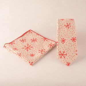 Snowflake Dot Pattern Christmas Square Pocket Tie Set - Beige - Xl
