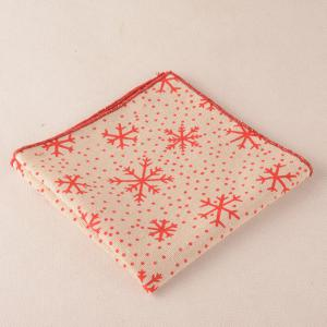 Snowflake Dot Pattern Christmas Square Pocket Tie Set - BEIGE