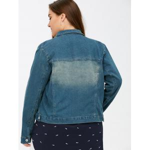 Bleach Wash Flap Pockets Short Denim Jacket -