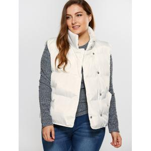 Button Up Stand Collar Padded Vest - WHITE 4XL