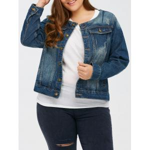 Dark Wash Button Up Short Denim Jacket - Deep Blue - 3xl