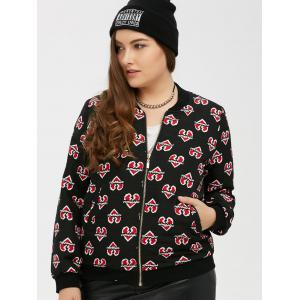 Zipped Heart Print Bomber Jacket -