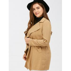 Open Front Hemming Sleeves Coat - KHAKI 5XL