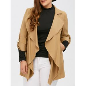 Open Front Hemming Sleeves Coat