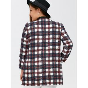 Open Front Flap Pockets Plaid Coat - PLAID 5XL