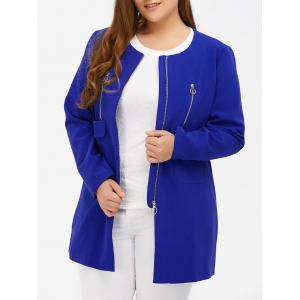 Plus Size Zipper Design Flap Pockets Coat