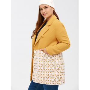 Woolen Floral Crochet Panel Coat -